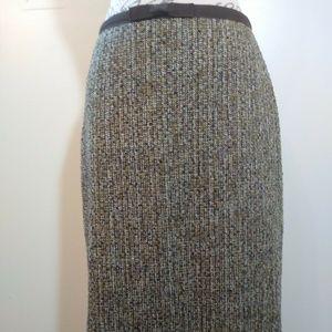 Loft Brown Tweed Wool Blend Skirt